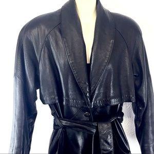 90's Vintage Wilson black leather full length coat